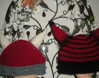Stripe and Solid Viking Helmet Crochet Beanie  Barbarians 2 patterns