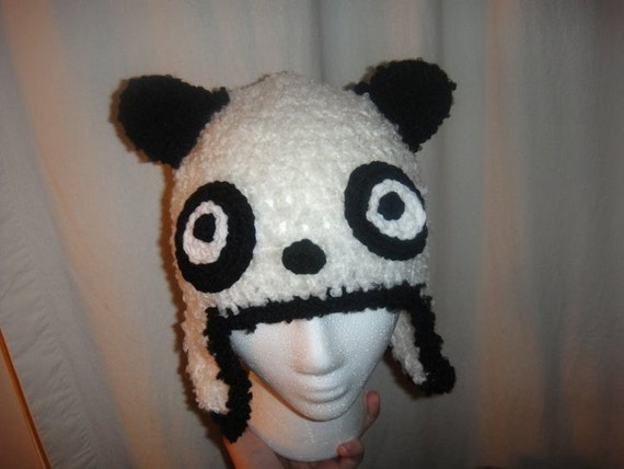 Furry Panda Crochet Beanie with face Ear flaps all sizes Unisex
