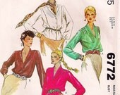 McCall's 6772 - Bust 38 - 1970s Blouse Pattern