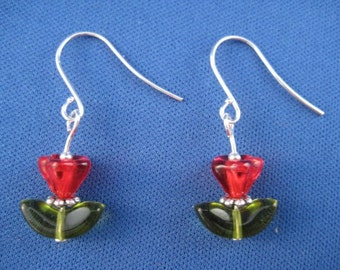 Darling Pressed Glass Tulip Drop Earrings