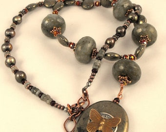 Handmade Butterfly Pyrite and Labradorite Asian Inspired Necklace