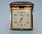 Vintage Travel Wind Up  Alarm Linden Dark Brown