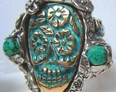 Turquoise Sugar Skull any size and choose two types of turquoise R050