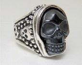 Hematite Gunmetal Black Custom Skull Ring R049