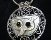 Great White Owl necklace pendant    without chain   no chain