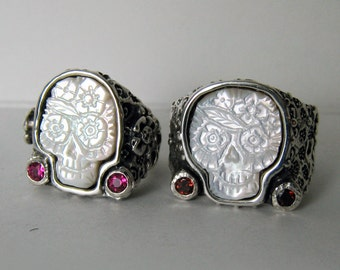 two Wedding rings Day of the Dead Sugar Skull Ring