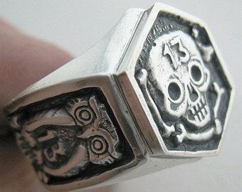 Hex 13 with Owls Custom Skull Ring
