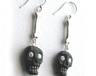 Halloween Gold Diamonds natural Black Coral Skull  Earrings Diamond 14k White Gold bones and wires E033
