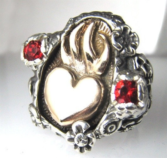Sacred Heart Bronze Heart with two small side Skulls  Ring