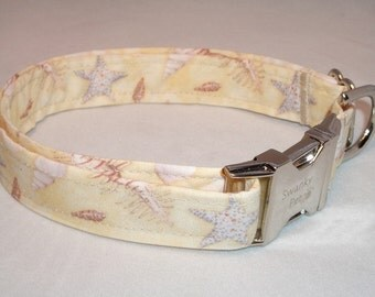 Day at the Beach Seashell Print Dog Collar by Swanky Pet