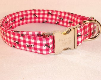 Picnic Ants Summer Print Dog Collar by Swanky Pet