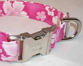 Pink Hawaiian Print Dog Collar by Swanky Pet