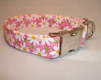 Pink Daisy Print Dog Collar by Swanky Pet