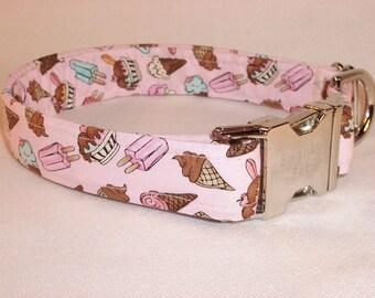 Summer Ice Cream Print Dog Collar by Swanky Pet