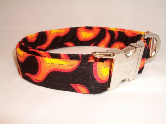 En Fuego Flame Print Dog Collar by Swanky Pet
