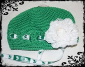 SALE Green Crochet\/Kufi Hat with White Flower and MSU Ribbon