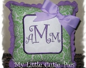 Custom Monogram Personalized Lime Apple Green Damask Lavendar Purple Accent Pillow Girls Initial Monogrammed