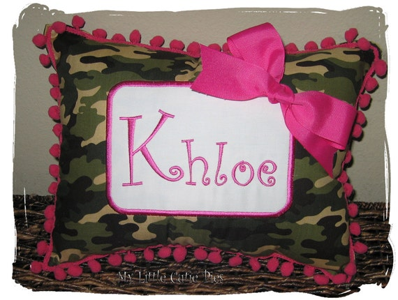 Custom Boutique Camouflage Brown Green Pink Fuschia Name Accent Pillow Personalized Monogram Monogrammed Animal Print