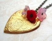 Romance Brass Heart and Flower Bouquet Necklace