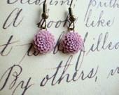 Lilac Chrysanthemum Cabochon Earrings
