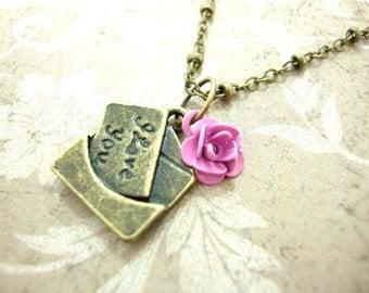 Antiqued Brass Love Letter Necklace