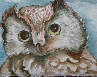 Art Card of Owl Original Art Cards ACEO Watercolor Owls Wildlife Original Art Original Watercolor