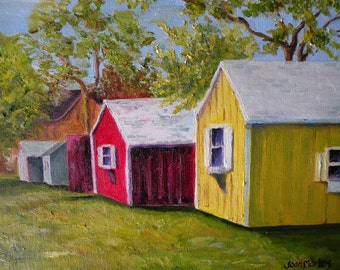 Oil Painting of Colorful Sheds Colorful Original Art Red Yellow Blue Art 9 x 12 Americana Art