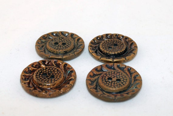Vintage Copper Colored Swirl Flower Buttons- Set of 4