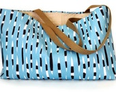 Reserved For Shannon Handmade Tote Bag with Blue Porcupine Quills Graphic Print