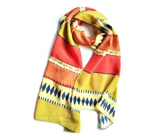 SALE Silk Sarape Print Scarf in Melon