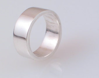 Thick Sterling Silver Flat Band 8mm
