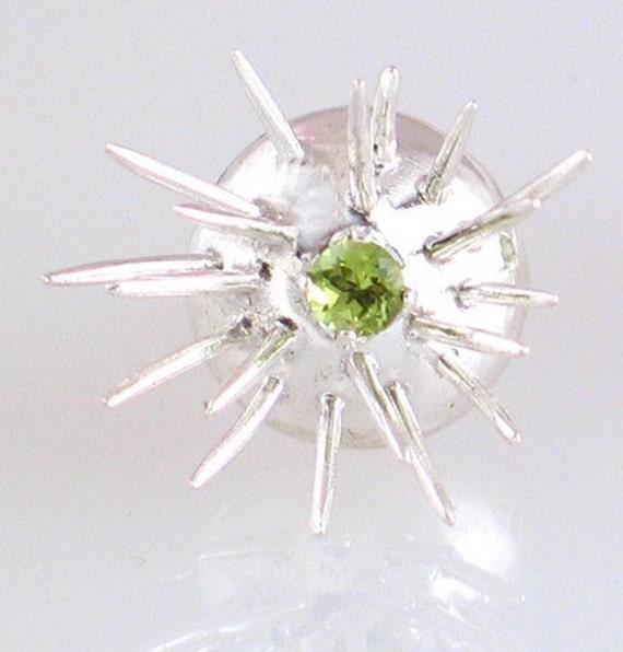 Sterling Silver Spike Earrings with Peridot
