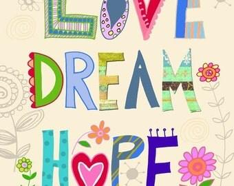 Love Dream Hope art print by Beth Nadler