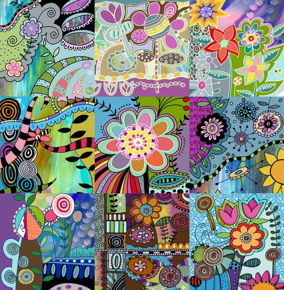 Colorful Funky Floral Art Print
