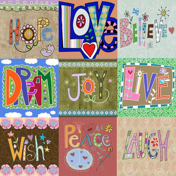 Items Similar To Happy Words Collage Wall Art Print On Etsy