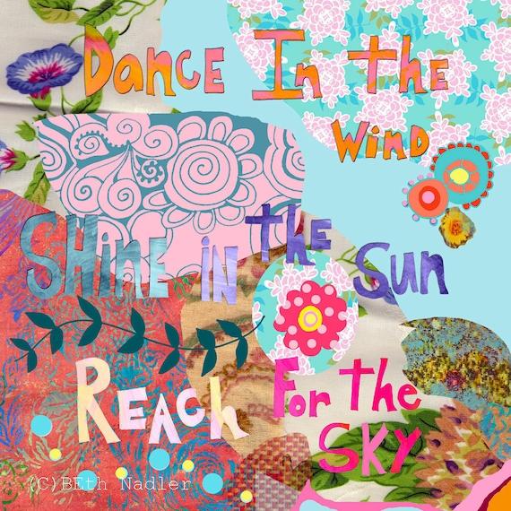 Reach for the Sky, Wall Art, Print, Girl's Room, Inspirational