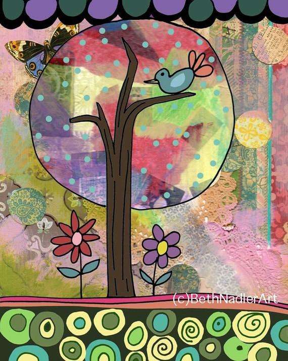 Tree of Happiness, Girl's Room Wall Art