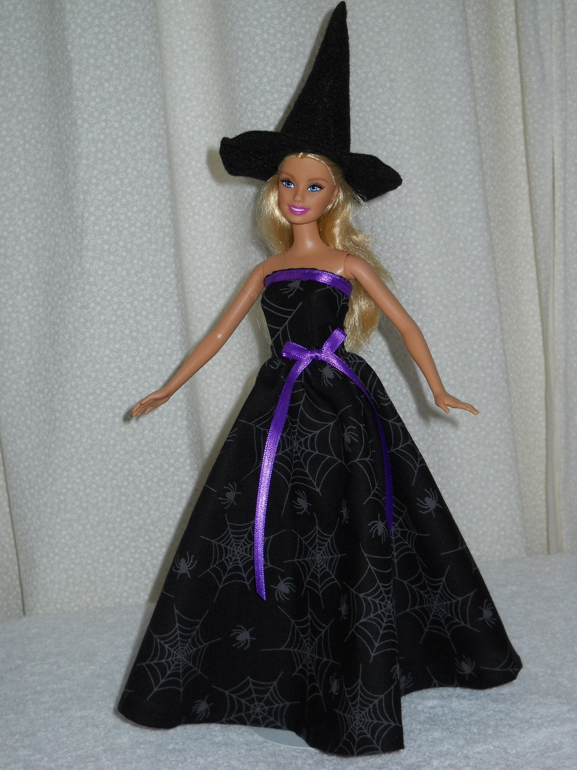 Barbie Doll Dress Handmade Halloween Witch Costume With Hat