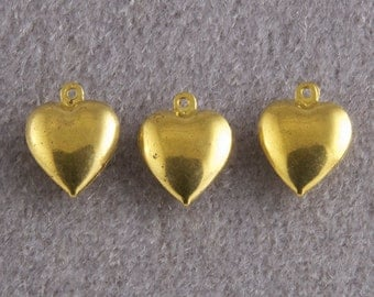 Vintage Raw Brass Heart Pendant Charm Bead Jewelry Finding