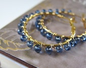 Halo hoop earrings - wire wrapped in Cornflower Blue glass (more colors available)