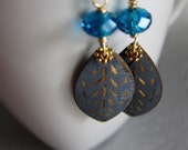 Vintage Engraved Gold Inlaid Leaf Charm Teal Blue Crystals Earrings, Vintage Style, Old World Charm