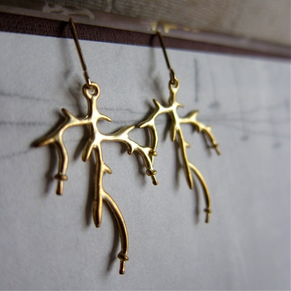 Antler Earrings / branch / twig in matte gold finish / 14K gold plated ear wires