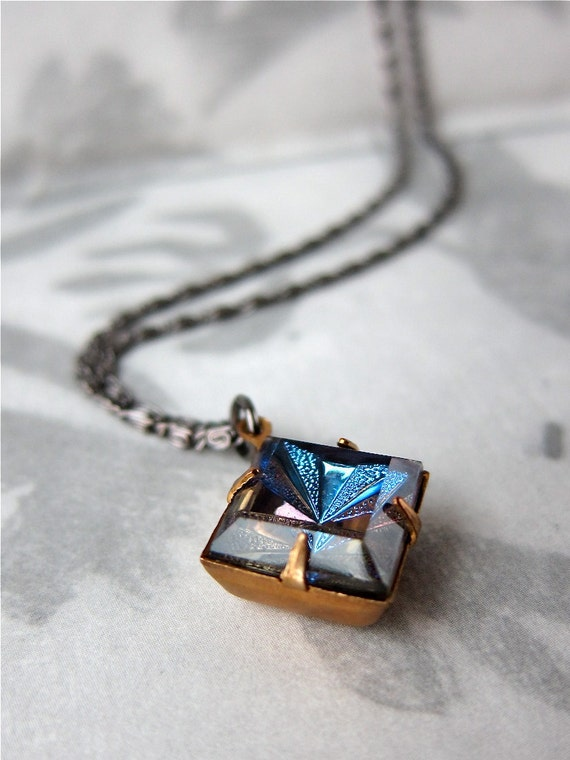 Magical Kaleidoscope necklace - vintage table cut rhinestone on fancy link chain