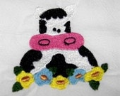 Large Flour Sack Dishtowel with Embroidered Cow