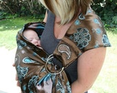 Beautiful Blue and Brown Brocade Glamour Sling     Baby Ring Sling