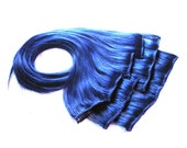 Blue Hair Extensions - Complete Set for Full Head of Clip Ins - 18-20 Inch