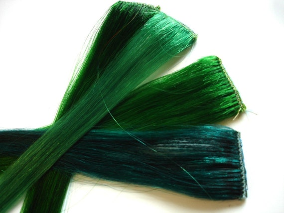 Items similar to Green Hair Extensions - Set of FOUR Clip ... Dark Forest Green Hair