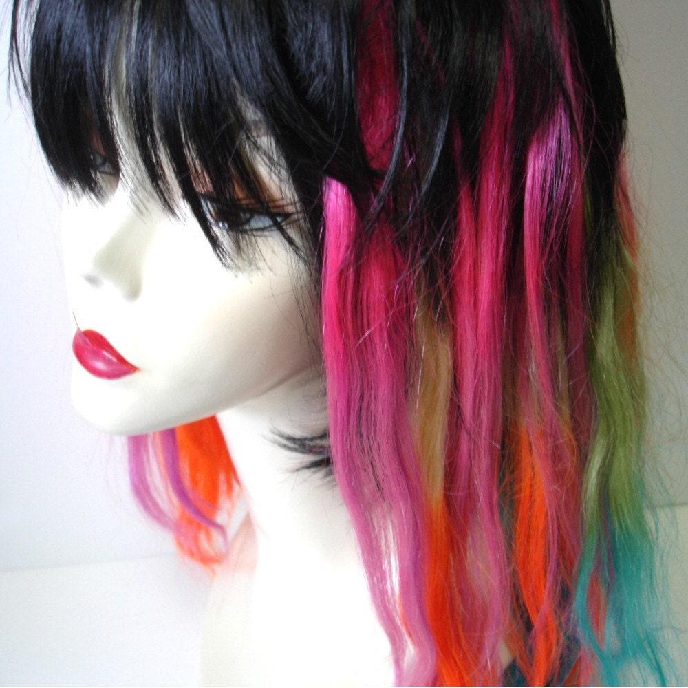 Rainbow Hair Extensions Full Set Rainbow Mermaid by IKickShins