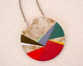 Geometric hand painted pendant -multicolor - Large