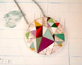 Hand painted geometric pendant - one of a kind- 01